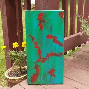 Original painting abstract acrylic green red teal